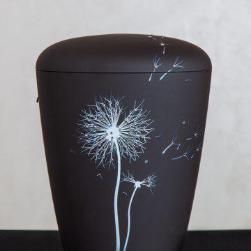Urne Naturstoff anthrazit Pusteblume mit original Swarovskielemts © Bestattungsdienst Uhl