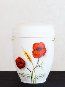U4 Naturstoff, handbemalt Mohnblumen