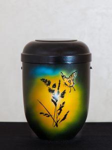 U5 Naturstoff, schwarz mit Schmetterlingmotiv